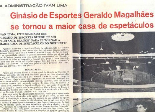 Recorte de jornal falando do Ginásio Geraldo Magalhães