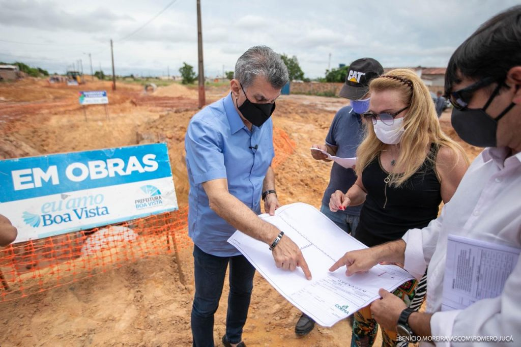 Jucá visita Obra drenagem Pedra Pintada Boa Vista