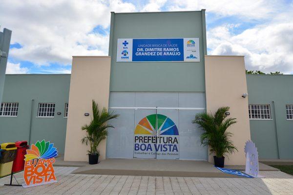 Frente da Unidade de Saúde do bairro Alvorada, que foi construída, em Boa Vista