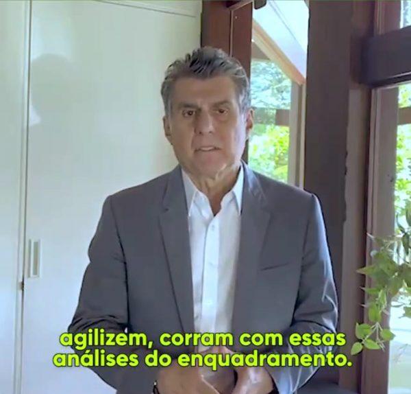 Romero Jucá em foto tirada de vídeo em que fala sobre enquadramento federal