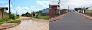 Imagem de antes e depois mostra rua alagada e depois totalmente asfaltada após a drenagem