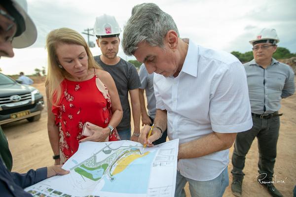 Romero Jucá e Teresa Surita visita obram do Parque do Rio Branco em Boa Vista