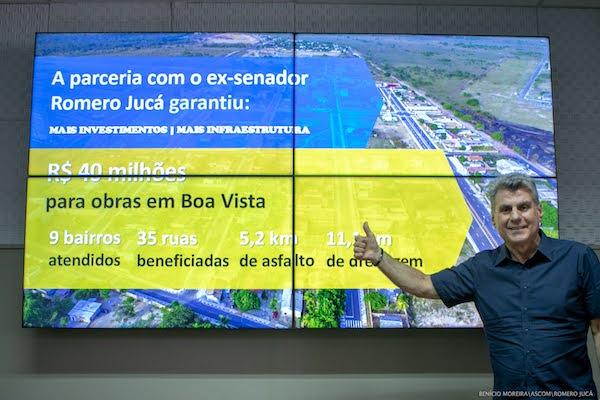 Quadro mostra os recursos de Romero Jucá com investimentos em Boa Vista